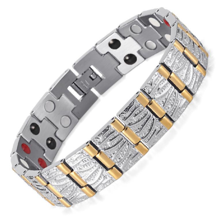 Men's style stainless steel magnetic bracelet