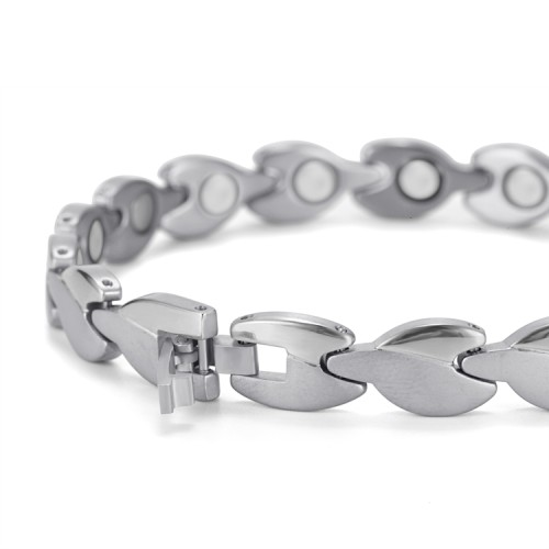Nero Portoro stainless steel magnetic bracelet Silver
