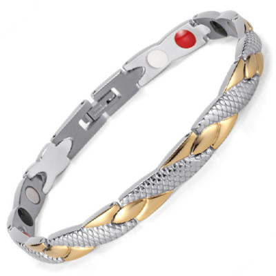 Medusa 4 in 1 elements stainless steel magnetic bracelet Silver and gold