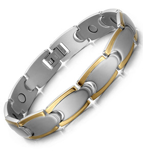 Stamina full magnets stainless steel magnetic bracelet Silver and gold