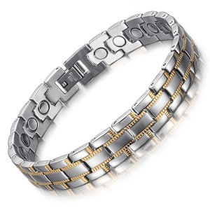 Salubrity full magnets stainless steel magnetic bracelet