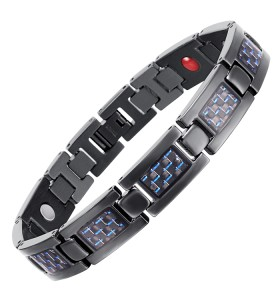 BLASS 4 in 1 element stainless steel magnetic bracelet Black and blue