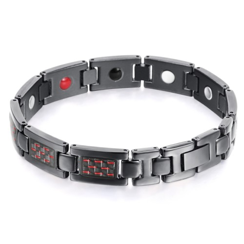 BLASS 4 in 1 element stainless steel magnetic bracelet Black and red carbon fiber