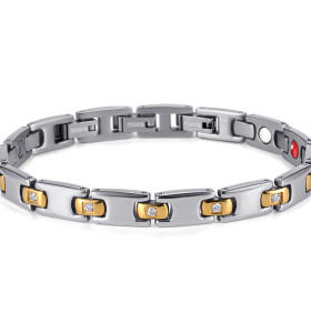 Embed crystals men magnetic therapy bracelet pure titanium
