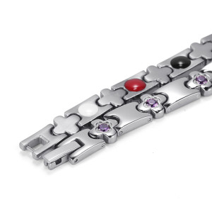 Flower pattern beautiful magnetic titanium bracelet man
