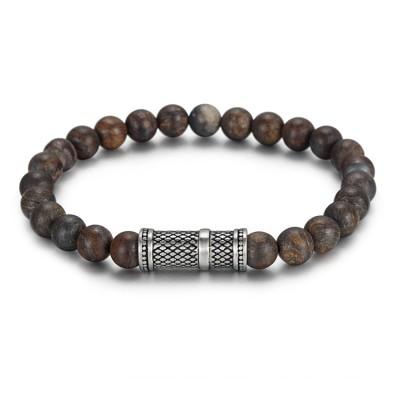 Bracelet de perles en bronze de 8 mm avec accessoires en acier inoxydable