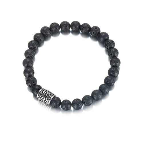 Bracelet en pierre naturelle d'agate de 8 mm avec accessoires en acier inoxydable