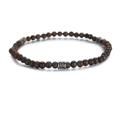 Bracelet de perles de bronzite de 4 mm avec accessoires en acier inoxydable