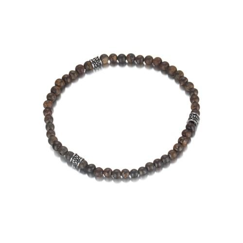 ステンレス鋼の付属品が付いている4mmの青銅色のビーズのブレスレット