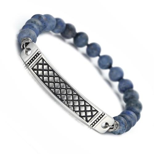 Bracelet dumortierte de 8 mm avec bracelet en acier inoxydable