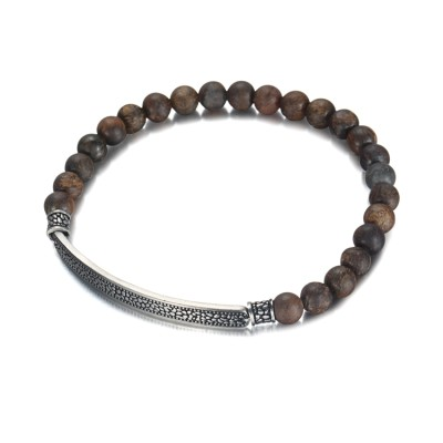 Bracelet en bronze 6 mm avec bracelet en acier inoxydable