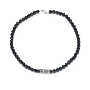 Collier de perles d'agate de 8 mm avec accessoires en acier inoxydable