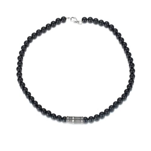Collana di perle di agata da 8 mm con accessori in acciaio inossidabile