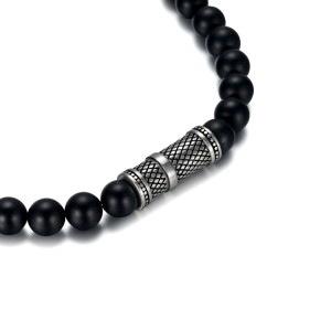 8mm agate beads necklace with stainless steel accessories