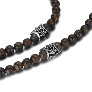 8mm bronzite beads necklace with stainless steel cross pendant