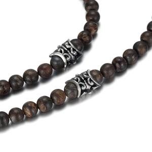 Collana di perle di bronzite da 8 mm con pendente a croce in acciaio inossidabile