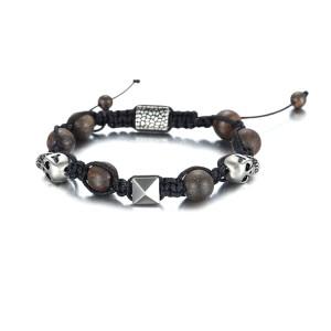 Bracelet de perles de bronzite tresse 8mm