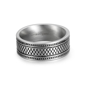 Reptile style stainless steel ring