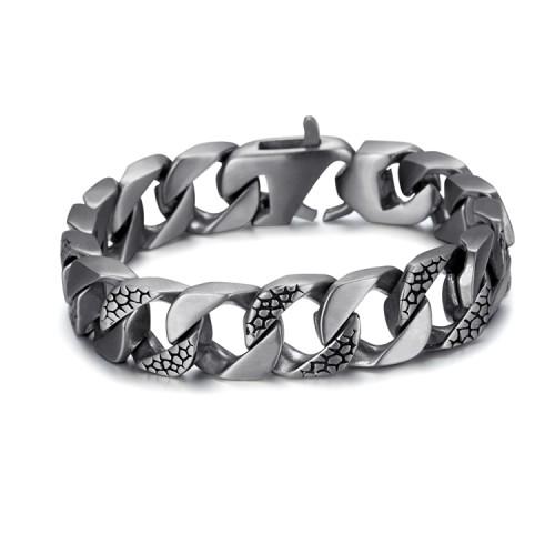 bracciale in acciaio inossidabile antico inciso in argento