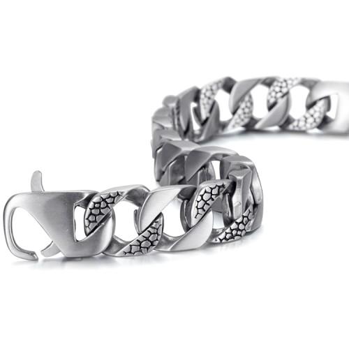 bracelet en acier inoxydable avec gravure d'argent antique