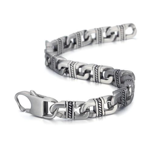 Bracelet en acier stianless avec chaîne cubaine ancienne