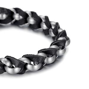 bracelet en acier inoxydable en cuir italien tressé