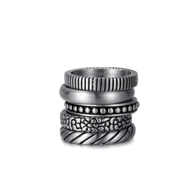 anneau antique steek en argent etch