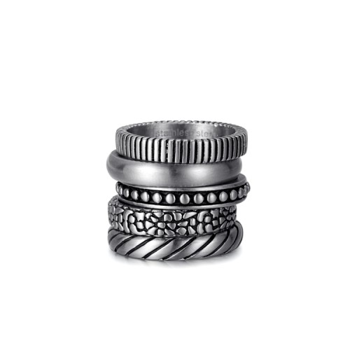 antique silver etch stainless steel ring stack