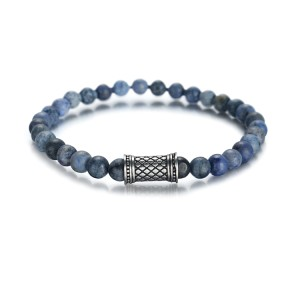 Bracelet en pierre de lave de 6 mm avec accessoires en acier inoxydable