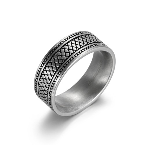 antique silver etch stainless steel ring