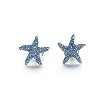 Boucles d'oreilles en acier inoxydable étoile de mer bleu poussière minérale
