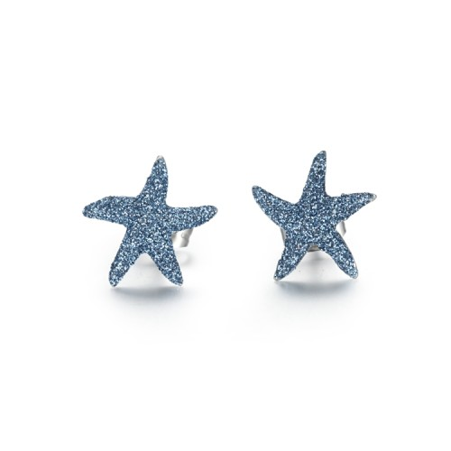 Blue mineral dust starfish stainless steel earrings