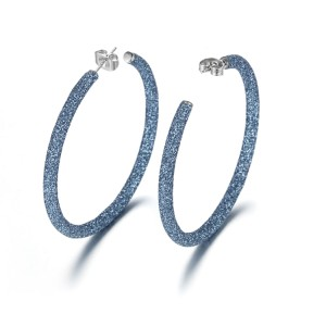 Boucles d'oreilles créoles en acier inoxydable bleu poussière minérale