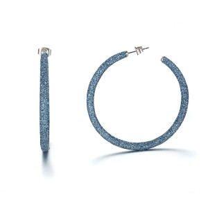Blue mineral dust hoop stainless steel earrings