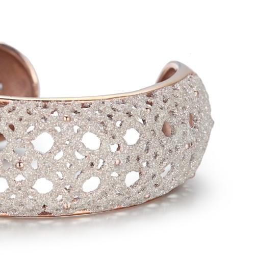 Bracelet jonc or blanc en acier inoxydable filigrane poussière blanche