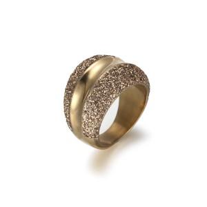 Anillo de oro de acero inoxidable con polvo mineral de oro