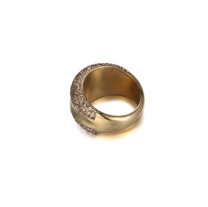 Gold mineral dust stainless steel gold ring