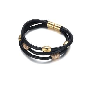 Polvo mineral dorado cuero negro acero inoxidable accesorio dorado y brazalete de cierre