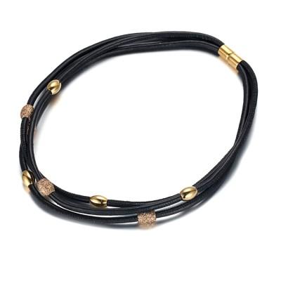 Collier en acier inoxydable en acier inoxydable avec poussière d'or et pendentif