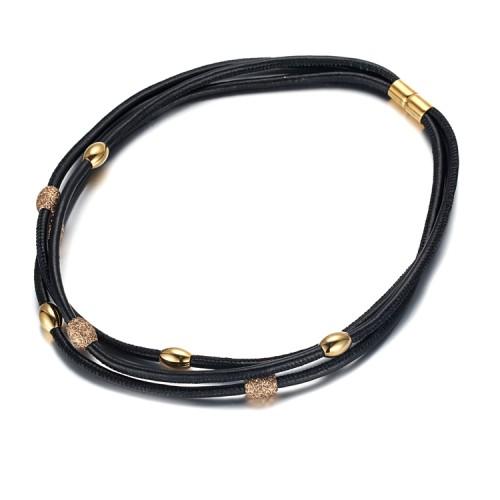 Polvo mineral dorado cuero negro acero inoxidable accesorio dorado y collar de cierre
