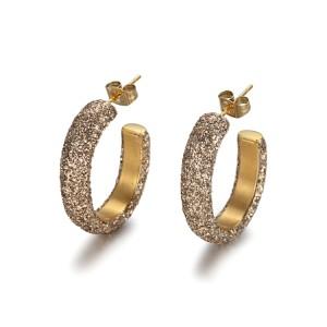 Pendientes de oro mineral en polvo de acero inoxidable y oro