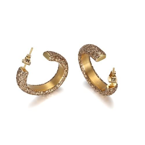 Boucles d'oreilles en acier inoxydable or poussière d'or minérale