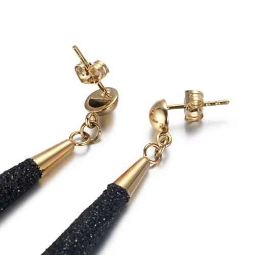 Boucles d'oreilles en acier inoxydable doré avec poussière minérale noire