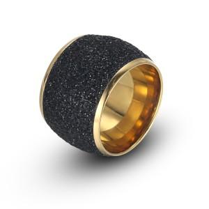Anillo de oro de acero inoxidable con polvo mineral negro