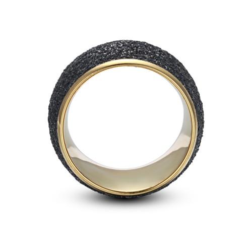 Bague en acier inoxydable doré avec poussière minérale noire