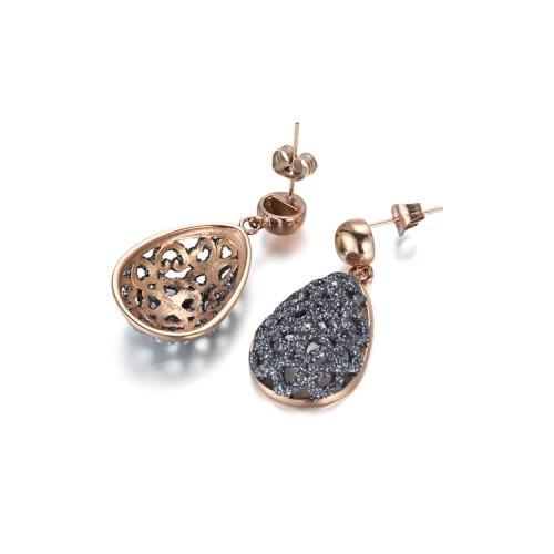 Boucles d'oreilles en or rose en acier inoxydable filigrane gris poussière minérale