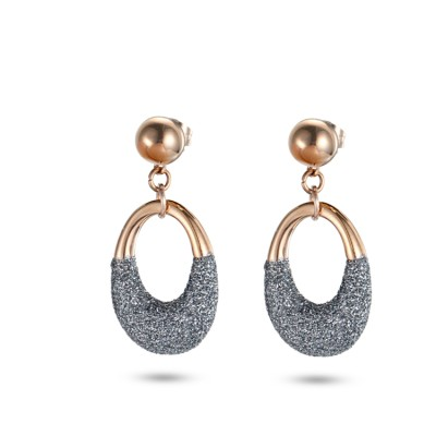 Boucles d'oreilles en or rose en acier inoxydable avec poussière minérale grise