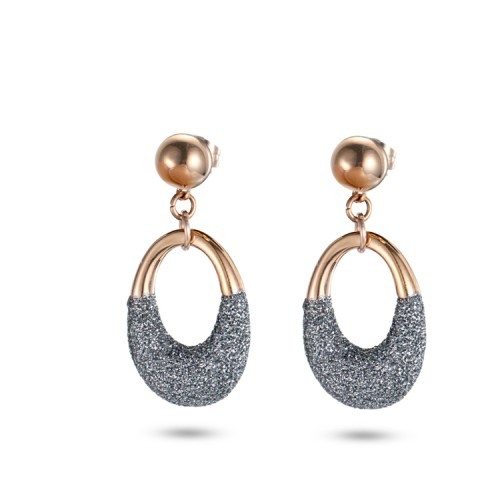 Grey mineral dust stainless steel rose gold earrings