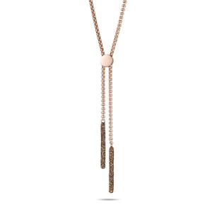 Collar de oro rosa de acero inoxidable con polvo mineral marrón