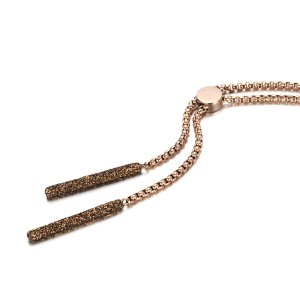 Brown mineral dust stainless steel rose gold necklace